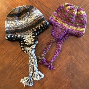Hand-knitted hats with ear flaps